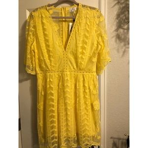 Socialite Yellow Lace Mini Dress - Size XXL -